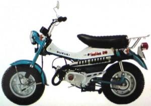 スズキのバンバン・元々は1971年に発売したバンバン90から始まったレジャーバイクのシリーズ車種であり、その後は1972年に125と50、1973年には75が発売されている。前後輪共に巨大幅広タイヤを装備しているのが最大の特徴で、搭載する2ストロークエンジンのパワーもあり、高い走破性を誇った。(Wikipediaより)