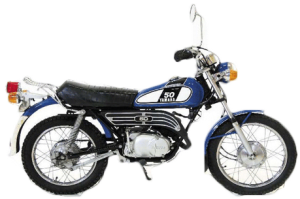 DT50は1982年に発売され、水冷2スト単気筒エンジンで7.2psを発揮させていた。F2.50-19、R3.00-17に前後ドラムブレーキ。Rキャリアは標準装備。乾燥重量75kg。発売開始から生産終了するまでの間、ほとんどモデルチェンジをせず日本国内では15年以上も長らく販売されていた。